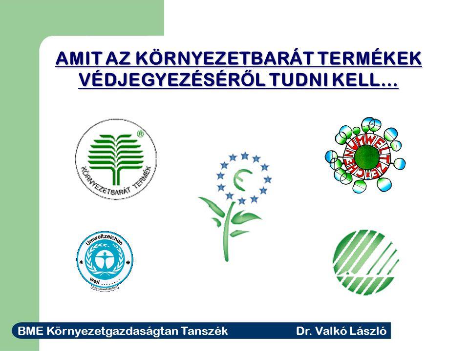 AMIT AZ KÖRNYEZETBARÁT TERMÉKEK VÉDJEGYEZÉSÉR Ő L TUDNI KELL… BME Környezetgazdaságtan Tanszék Dr.