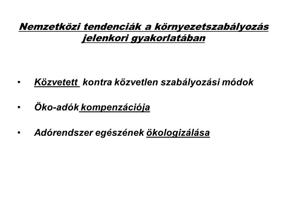 A SZABÁLYOZÁSI ESZKÖZÖK-MÓDSZEREK VÁLASZTÁSÁNAK KRITÉRIUMAI /EU tapasztalatok alapján/ 1.A PROBLÉMA TÍPUSA, SÚLYA ÉS SÜRGŐSSÉGE 2.KÖRNYEZETI HATÉKONYSÁG /ökológiai találati biztonság/ 3.GAZDASÁGI HATÉKONYSÁG /gazdasági találati biztonság/ 4.IGAZSÁGOSSÁG, ARÁNYOS TEHERVISELÉS /szociális találati biztonság/ 5.MEGFELELŐ INFORMÁCIÓK /nyomonkövethetőség/ 6.KÖZIGAZGATÁSI ALKALMAZHATÓSÁG (konzisztencia) 7.MEGVALÓSÍTÁS ÖSSZKÖLTSÉGEI 8.ELFOGADHATÓSÁG, ELFOGADTATHATÓSÁG 9.VERSENYSEMLEGESSÉG és RUGALMASSÁG