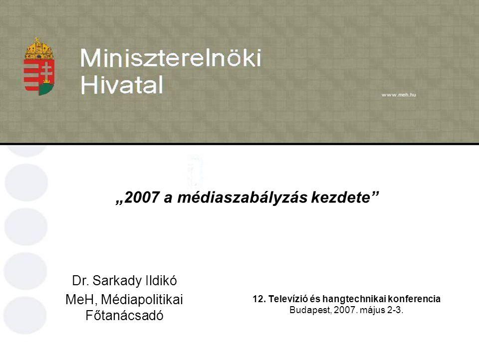 """""""2007 a médiaszabályzás kezdete 12. Televízió és hangtechnikai konferencia Budapest, 2007."""