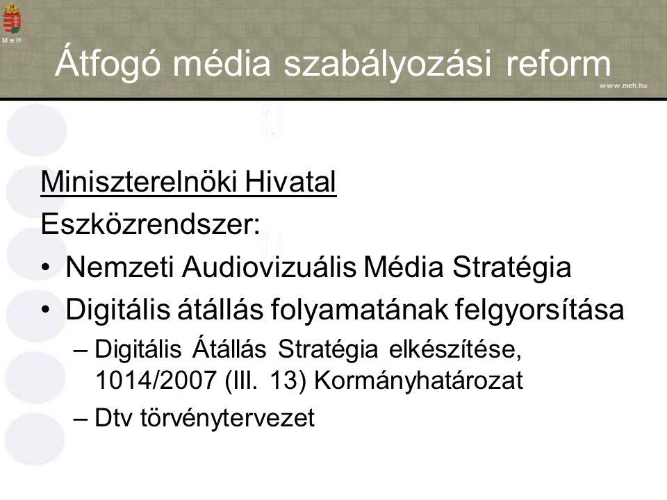 Átfogó média szabályozási reform Miniszterelnöki Hivatal Eszközrendszer: Nemzeti Audiovizuális Média Stratégia Digitális átállás folyamatának felgyorsítása –Digitális Átállás Stratégia elkészítése, 1014/2007 (III.