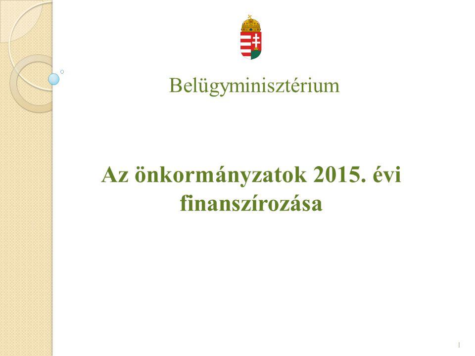 Belügyminisztérium Az önkormányzatok 2015. évi finanszírozása 1