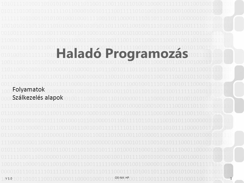 V 1.0 OE-NIK HP 1 Haladó Programozás Folyamatok Szálkezelés alapok