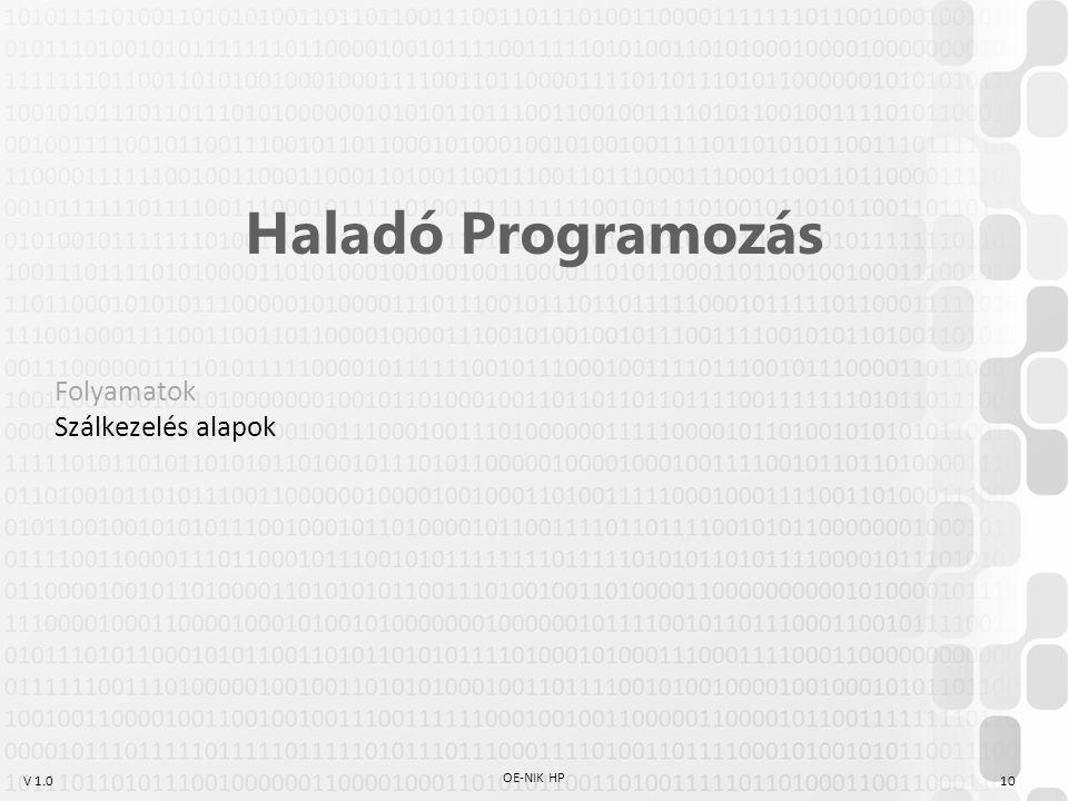 V 1.0 OE-NIK HP 10 Haladó Programozás Folyamatok Szálkezelés alapok