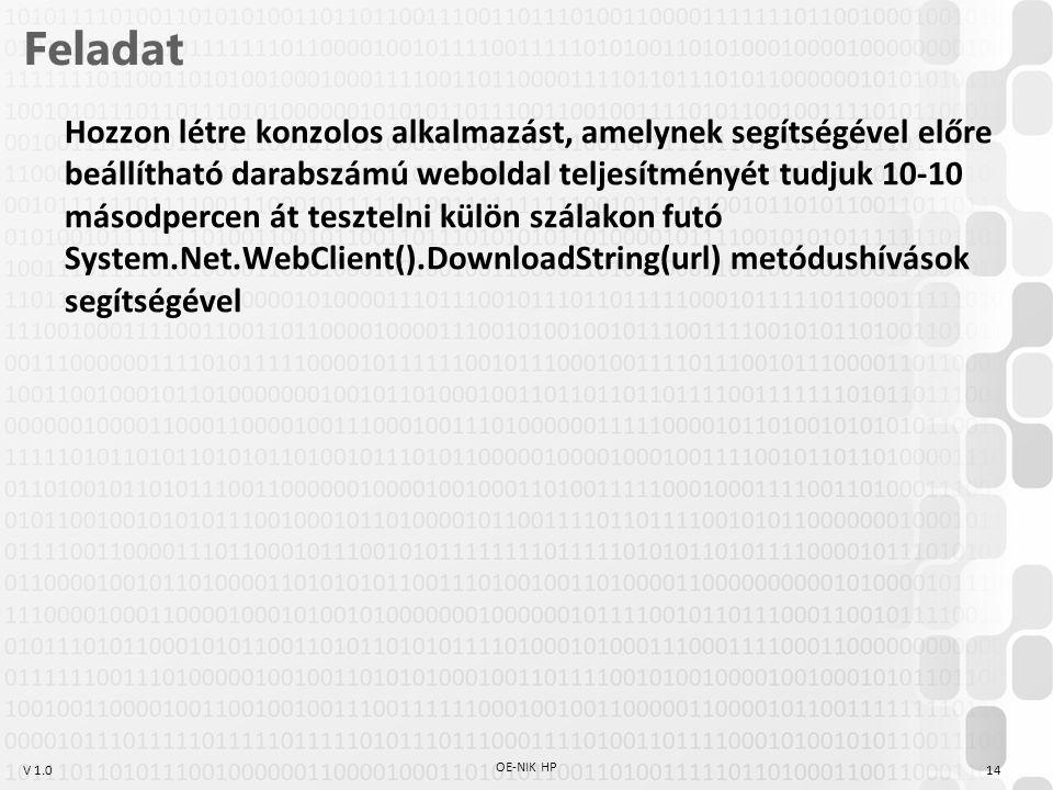 V 1.0 Feladat Hozzon létre konzolos alkalmazást, amelynek segítségével előre beállítható darabszámú weboldal teljesítményét tudjuk 10-10 másodpercen át tesztelni külön szálakon futó System.Net.WebClient().DownloadString(url) metódushívások segítségével 14 OE-NIK HP