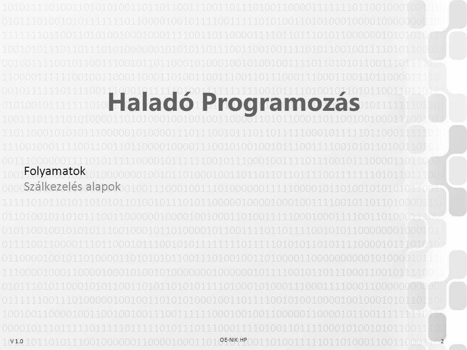 V 1.0 OE-NIK HP 2 Haladó Programozás Folyamatok Szálkezelés alapok