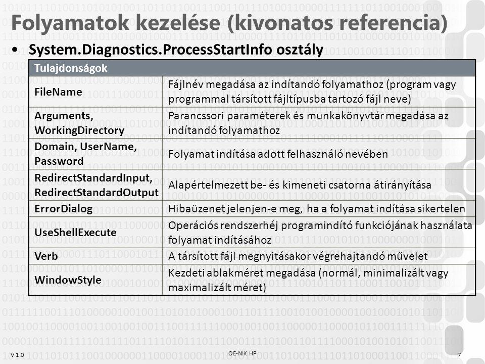 V 1.0 Folyamatok kezelése (kivonatos referencia) System.Diagnostics.ProcessStartInfo osztály Tulajdonságok FileName Fájlnév megadása az indítandó folyamathoz (program vagy programmal társított fájltípusba tartozó fájl neve) Arguments, WorkingDirectory Parancssori paraméterek és munkakönyvtár megadása az indítandó folyamathoz Domain, UserName, Password Folyamat indítása adott felhasználó nevében RedirectStandardInput, RedirectStandardOutput Alapértelmezett be- és kimeneti csatorna átirányítása ErrorDialogHibaüzenet jelenjen-e meg, ha a folyamat indítása sikertelen UseShellExecute Operációs rendszerhéj programindító funkciójának használata folyamat indításához VerbA társított fájl megnyitásakor végrehajtandó művelet WindowStyle Kezdeti ablakméret megadása (normál, minimalizált vagy maximalizált méret) 7 OE-NIK HP