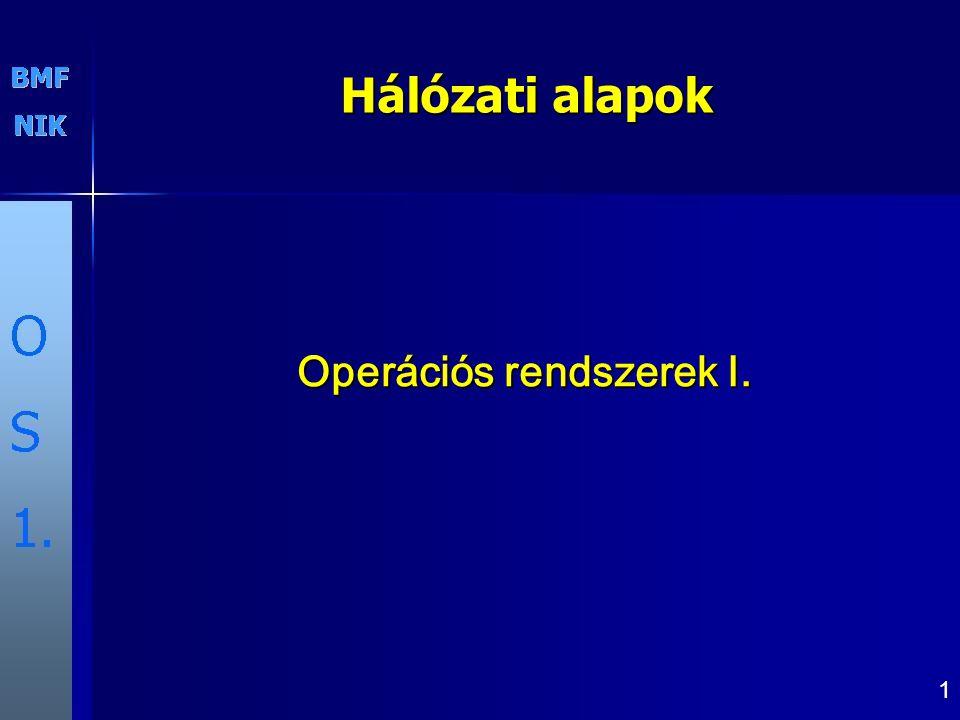 1 Operációs rendszerek I. Hálózati alapok