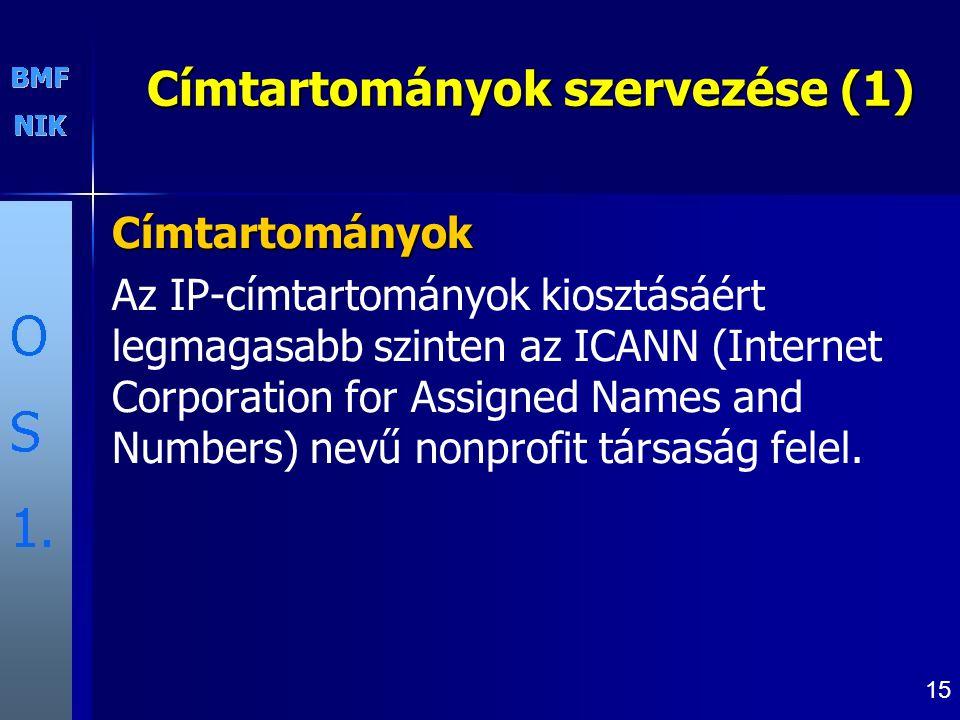 15 Címtartományok szervezése (1) Címtartományok Az IP-címtartományok kiosztásáért legmagasabb szinten az ICANN (Internet Corporation for Assigned Names and Numbers) nevű nonprofit társaság felel.