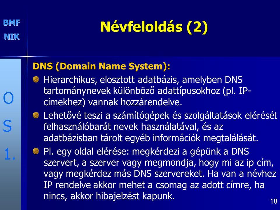 18 Névfeloldás (2) DNS DNS (Domain Name System): Hierarchikus, elosztott adatbázis, amelyben DNS tartománynevek különböző adattípusokhoz (pl.
