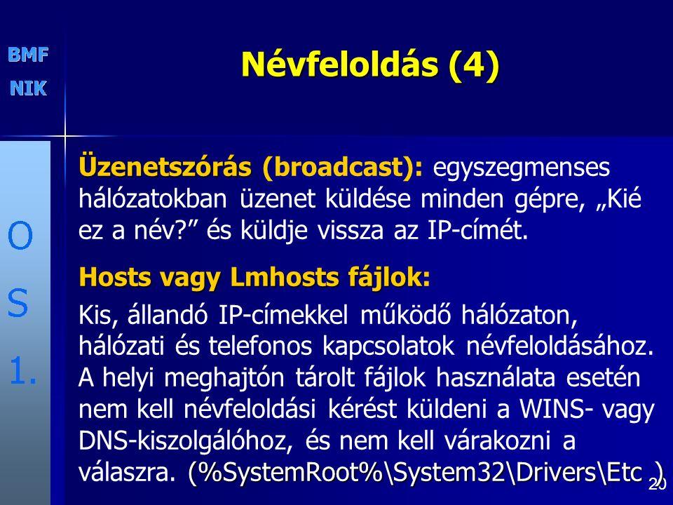 """20 Névfeloldás (4) Üzenetszórás Üzenetszórás (broadcast): egyszegmenses hálózatokban üzenet küldése minden gépre, """"Kié ez a név? és küldje vissza az IP-címét."""