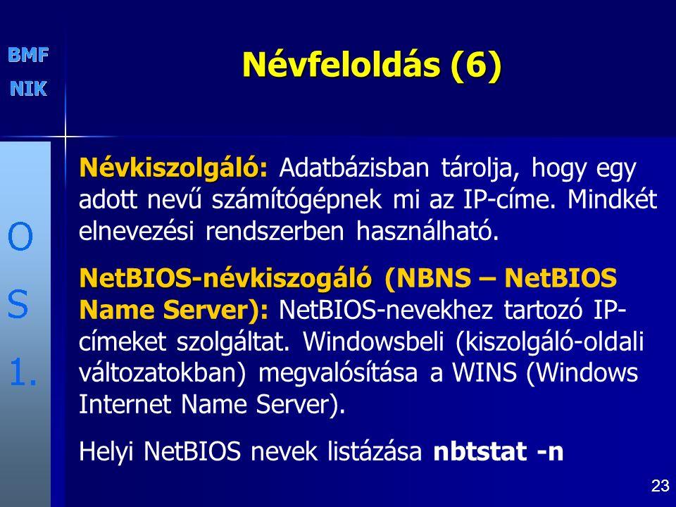 23 Névfeloldás (6) Névkiszolgáló Névkiszolgáló: Adatbázisban tárolja, hogy egy adott nevű számítógépnek mi az IP-címe.