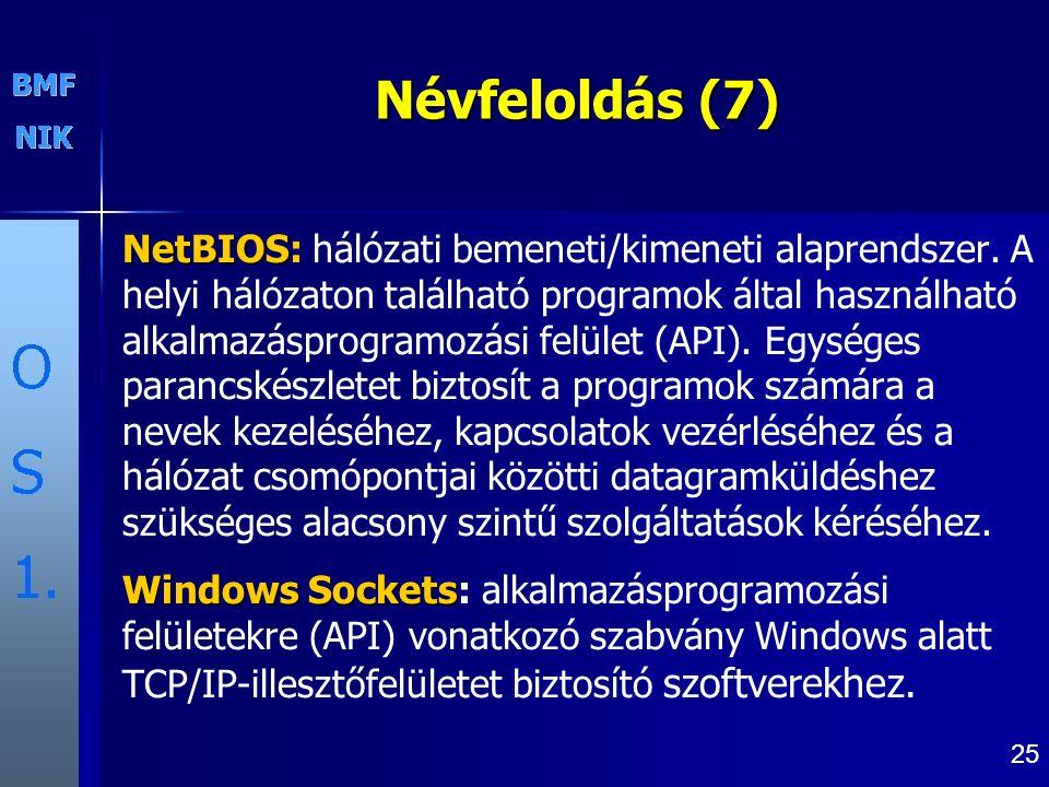 25 Névfeloldás (7) NetBIOS NetBIOS: hálózati bemeneti/kimeneti alaprendszer.