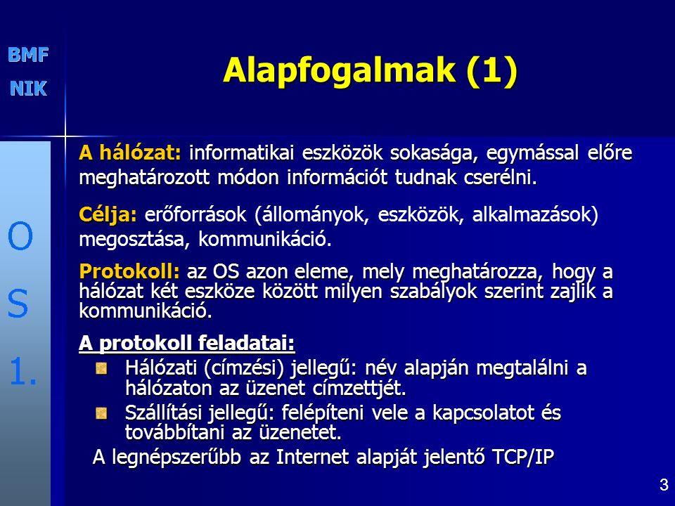 3 Alapfogalmak (1) A hálózat: informatikai eszközök sokasága, egymással előre meghatározott módon információt tudnak cserélni.