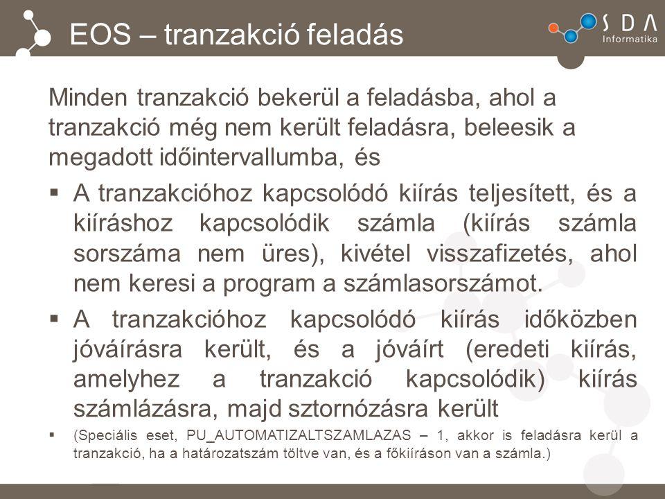 EOS – tranzakció feladás Minden tranzakció bekerül a feladásba, ahol a tranzakció még nem került feladásra, beleesik a megadott időintervallumba, és  A tranzakcióhoz kapcsolódó kiírás teljesített, és a kiíráshoz kapcsolódik számla (kiírás számla sorszáma nem üres), kivétel visszafizetés, ahol nem keresi a program a számlasorszámot.