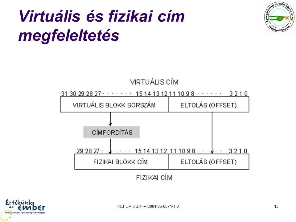 HEFOP 3.3.1–P-2004-06-0071/1.013 Virtuális és fizikai cím megfeleltetés
