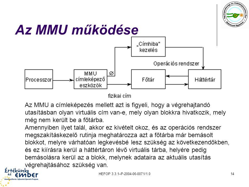 HEFOP 3.3.1–P-2004-06-0071/1.014 Az MMU működése Az MMU a címleképezés mellett azt is figyeli, hogy a végrehajtandó utasításban olyan virtuális cím va