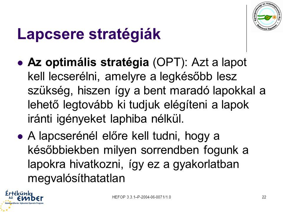 HEFOP 3.3.1–P-2004-06-0071/1.022 Lapcsere stratégiák Az optimális stratégia (OPT): Azt a lapot kell lecserélni, amelyre a legkésőbb lesz szükség, hisz