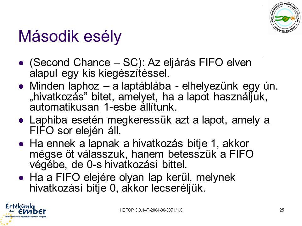 HEFOP 3.3.1–P-2004-06-0071/1.025 Második esély (Second Chance – SC): Az eljárás FIFO elven alapul egy kis kiegészítéssel. Minden laphoz – a laptáblába