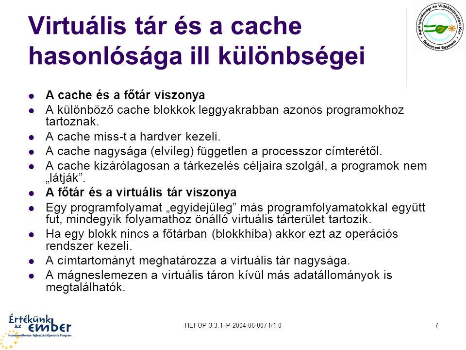 HEFOP 3.3.1–P-2004-06-0071/1.07 Virtuális tár és a cache hasonlósága ill különbségei A cache és a főtár viszonya A különböző cache blokkok leggyakrabb