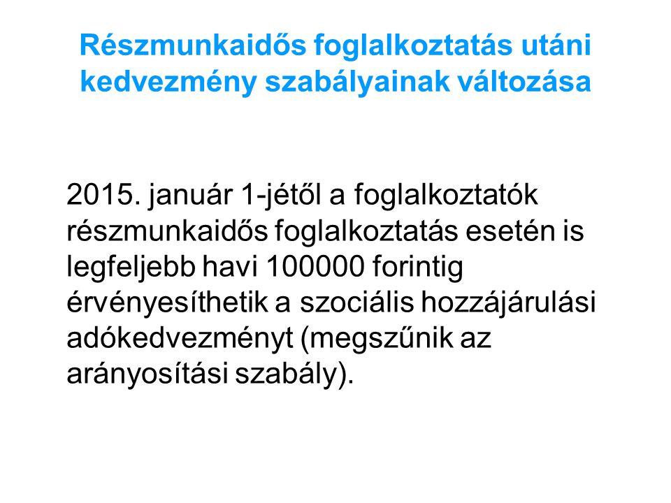Részmunkaidős foglalkoztatás utáni kedvezmény szabályainak változása 2015. január 1-jétől a foglalkoztatók részmunkaidős foglalkoztatás esetén is legf