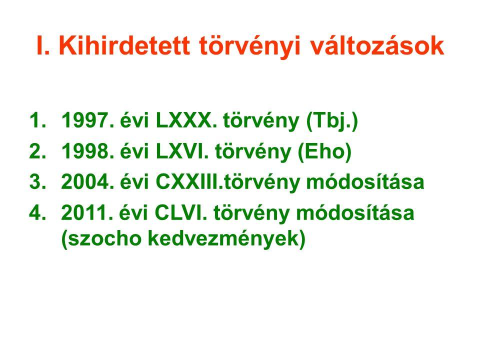 I. Kihirdetett törvényi változások 1.1997. évi LXXX. törvény (Tbj.) 2.1998. évi LXVI. törvény (Eho) 3.2004. évi CXXIII.törvény módosítása 4.2011. évi