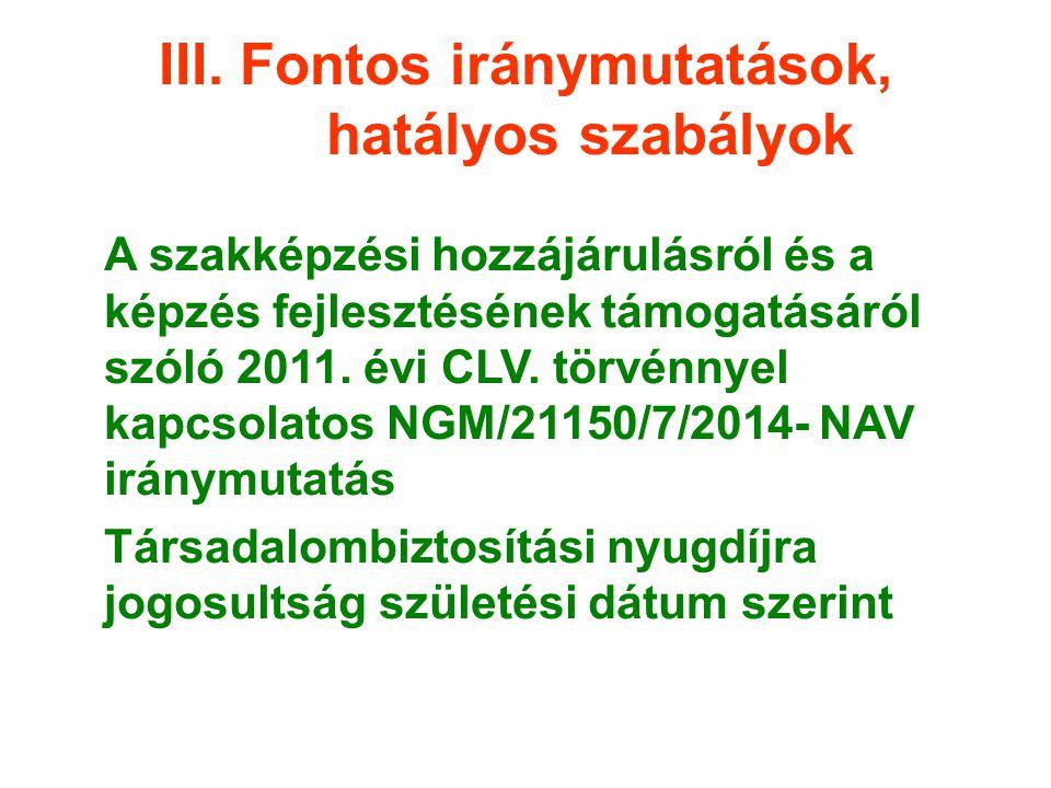III. Fontos iránymutatások, hatályos szabályok A szakképzési hozzájárulásról és a képzés fejlesztésének támogatásáról szóló 2011. évi CLV. törvénnyel