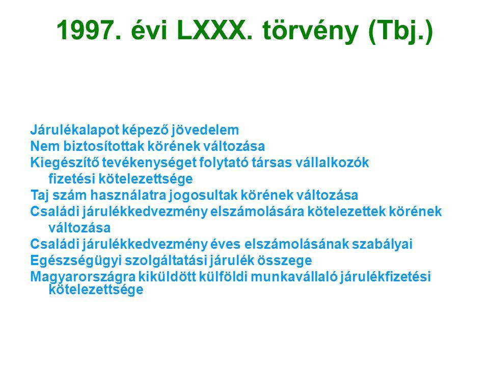 1997. évi LXXX. törvény (Tbj.) Járulékalapot képező jövedelem Nem biztosítottak körének változása Kiegészítő tevékenységet folytató társas vállalkozók