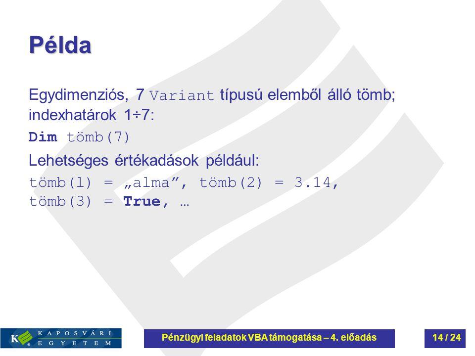 """Példa Egydimenziós, 7 Variant típusú elemből álló tömb; indexhatárok 1÷7: Dim tömb(7) Lehetséges értékadások például: tömb(l) = """"alma"""", tömb(2) = 3.14"""