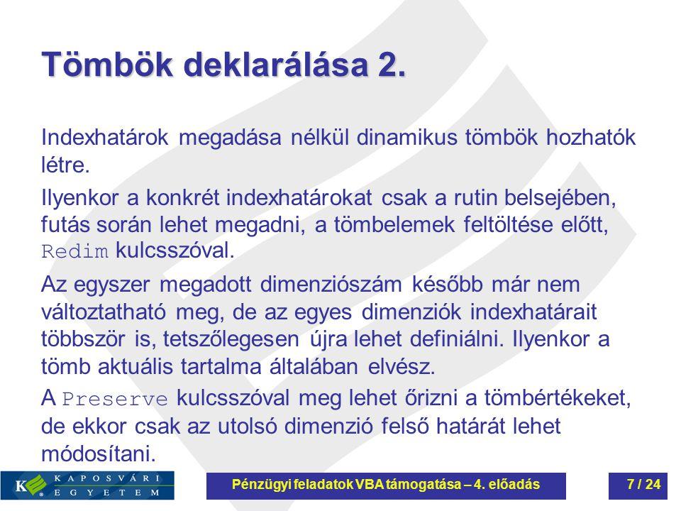 Tömbök deklarálása 3.