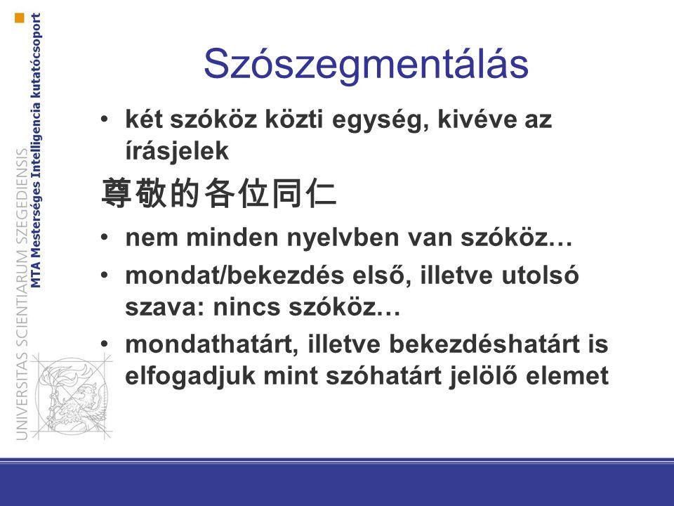 Szószegmentálás két szóköz közti egység, kivéve az írásjelek 尊敬的各位同仁 nem minden nyelvben van szóköz… mondat/bekezdés első, illetve utolsó szava: nincs szóköz… mondathatárt, illetve bekezdéshatárt is elfogadjuk mint szóhatárt jelölő elemet