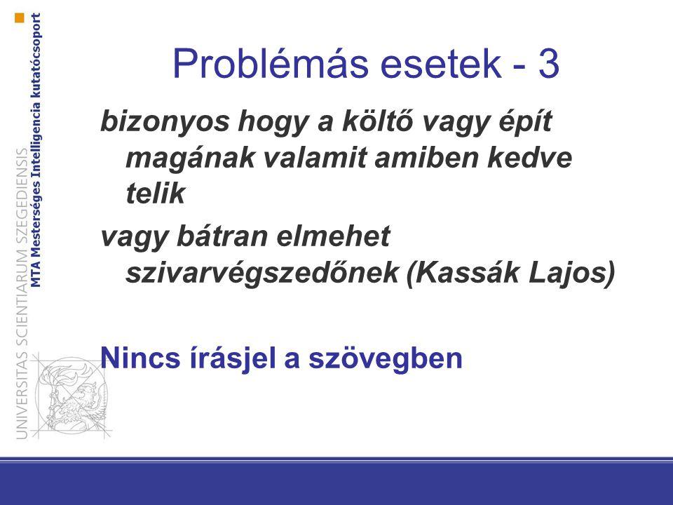 Problémás esetek - 3 bizonyos hogy a költő vagy épít magának valamit amiben kedve telik vagy bátran elmehet szivarvégszedőnek (Kassák Lajos) Nincs írásjel a szövegben