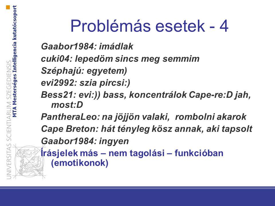 Problémás esetek - 4 Gaabor1984: imádlak cuki04: lepedöm sincs meg semmim Széphajú: egyetem) evi2992: szia pircsi:) Bess21: evi:)) bass, koncentrálok Cape-re:D jah, most:D PantheraLeo: na jöjjön valaki, rombolni akarok Cape Breton: hát tényleg kösz annak, aki tapsolt Gaabor1984: ingyen Írásjelek más – nem tagolási – funkcióban (emotikonok)