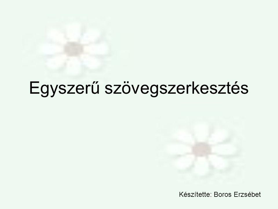 Egyszerű szövegszerkesztés Készítette: Boros Erzsébet