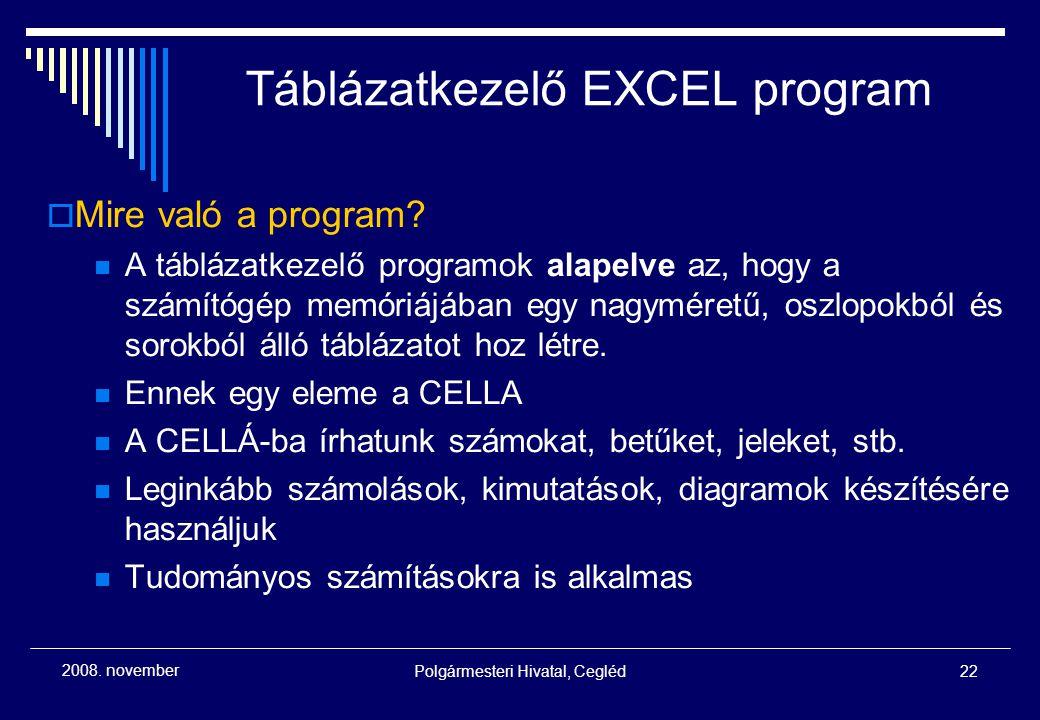 Polgármesteri Hivatal, Cegléd22 2008. november Táblázatkezelő EXCEL program  Mire való a program? A táblázatkezelő programok alapelve az, hogy a szám
