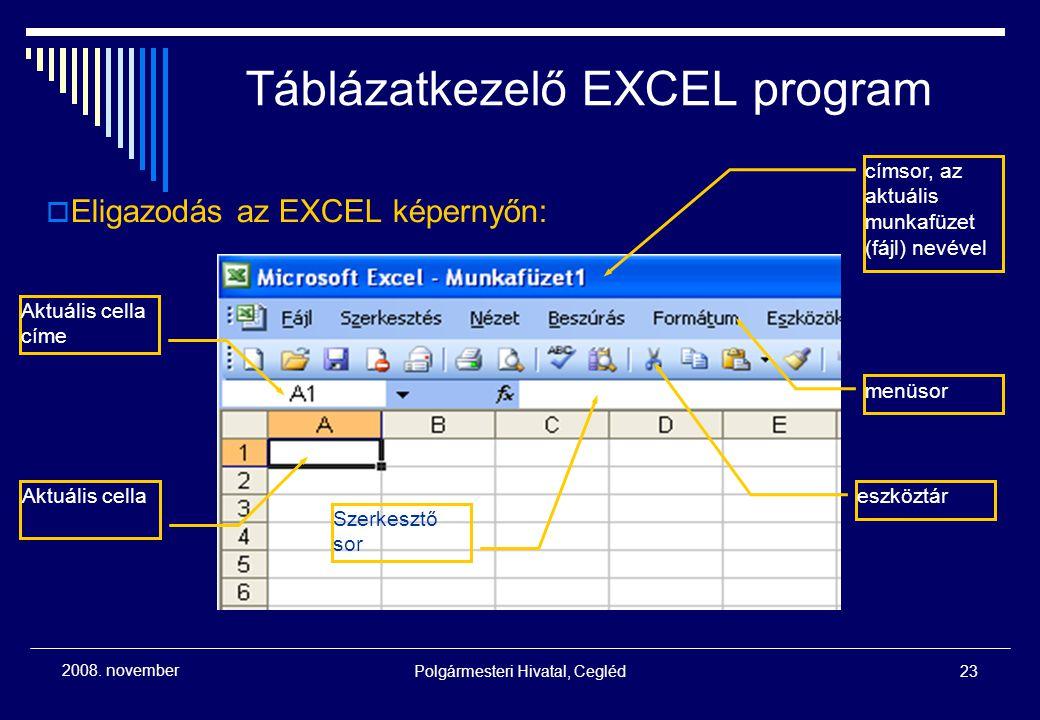 Polgármesteri Hivatal, Cegléd23 2008. november  Eligazodás az EXCEL képernyőn: címsor, az aktuális munkafüzet (fájl) nevével menüsor eszköztár Aktuál