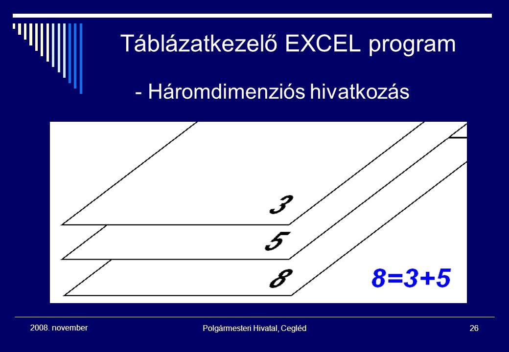 Polgármesteri Hivatal, Cegléd26 2008. november - Háromdimenziós hivatkozás Táblázatkezelő EXCEL program