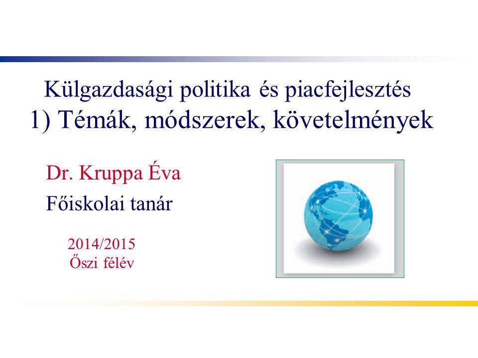 Külgazdasági politika és piacfejlesztés 1) Témák, módszerek, követelmények Dr.