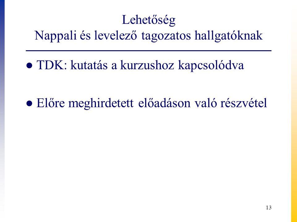 Lehetőség Nappali és levelező tagozatos hallgatóknak ● TDK: kutatás a kurzushoz kapcsolódva ● Előre meghirdetett előadáson való részvétel 13