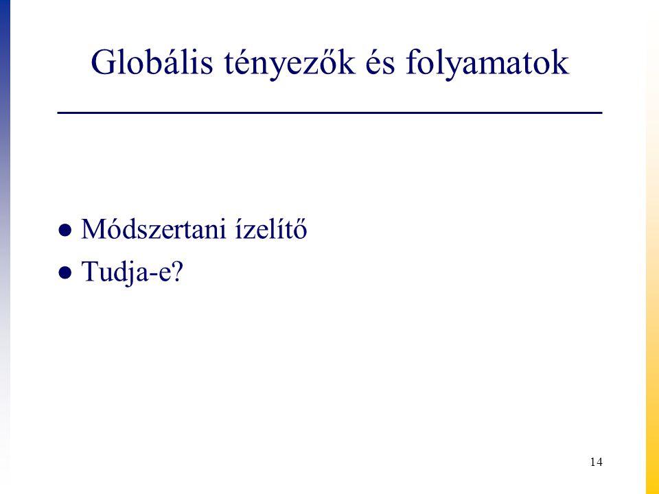 Globális tényezők és folyamatok ● Módszertani ízelítő ● Tudja-e? 14