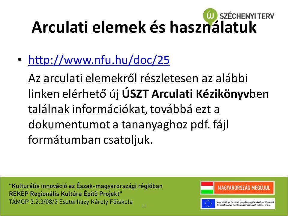 Arculati elemek és használatuk 13 http://www.nfu.hu/doc/25 Az arculati elemekről részletesen az alábbi linken elérhető új ÚSZT Arculati Kézikönyvben t