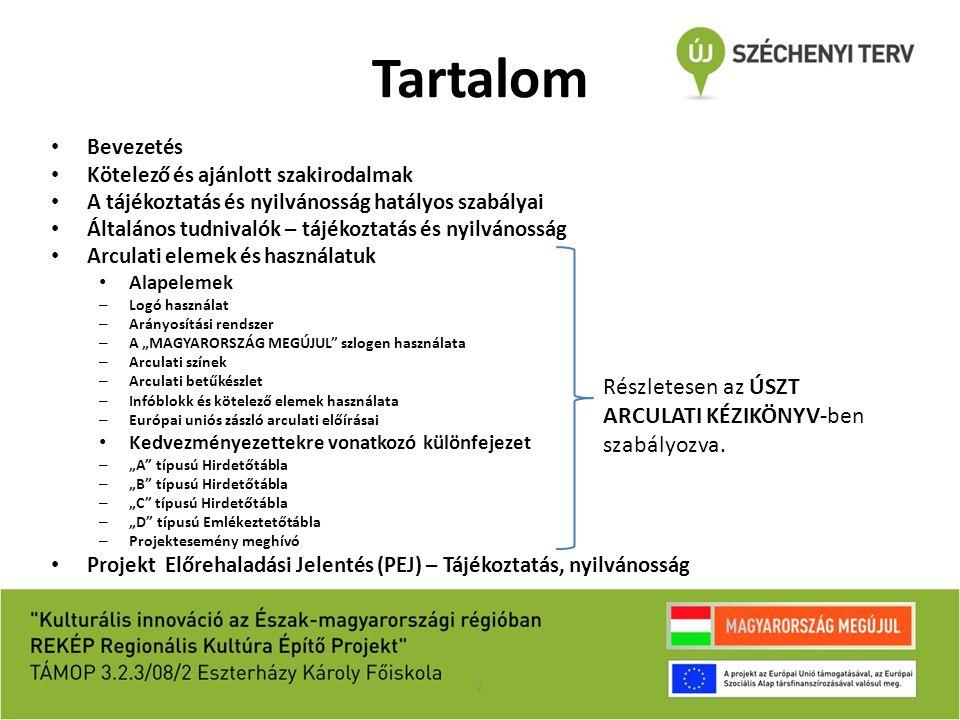 Kötelező és ajánlott szakirodalom Kötelező irodalom: Nemzeti Fejlesztési Ügynökség: ÚSZT Kedvezményezettel tájékoztatási kötelezettségei – Útmutató az Új Széchenyi Terv keretében az Európai Uniós támogatásból megvalósuló projektekhez A 2011.