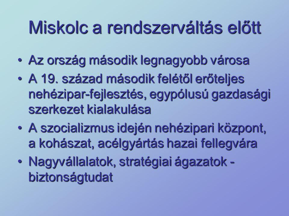 Külföldi beruházások Miskolcon 1989-1996.A privatizáció és válságkezelés időszaka1989-1996.