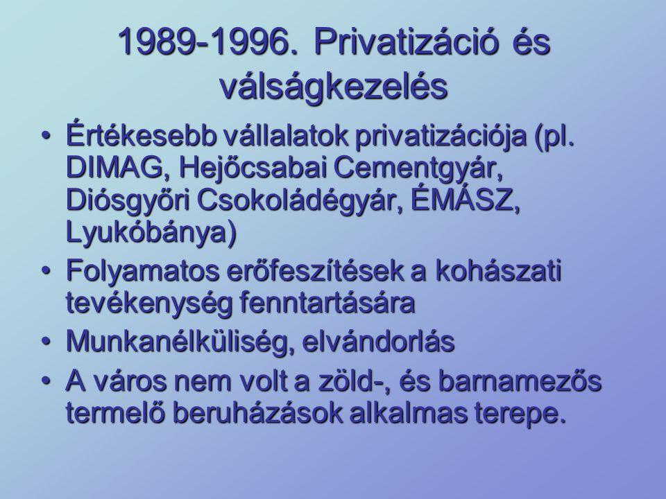 1989-1996. Privatizáció és válságkezelés Értékesebb vállalatok privatizációja (pl. DIMAG, Hejőcsabai Cementgyár, Diósgyőri Csokoládégyár, ÉMÁSZ, Lyukó