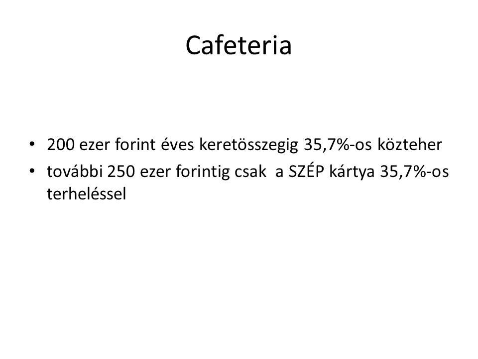 Cafeteria 200 ezer forint éves keretösszegig 35,7%-os közteher további 250 ezer forintig csak a SZÉP kártya 35,7%-os terheléssel