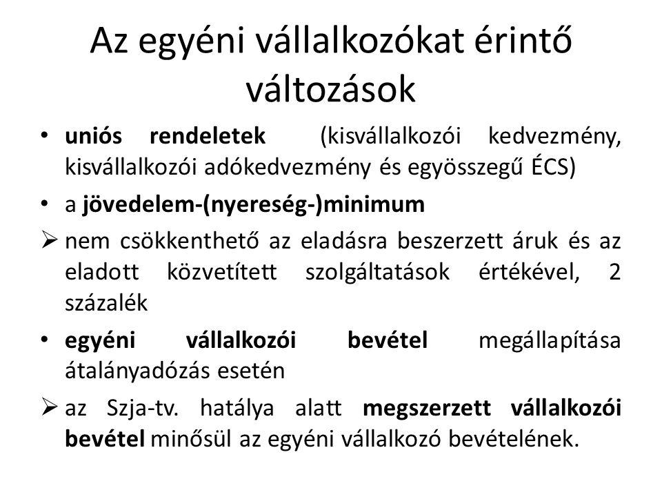 Az egyéni vállalkozókat érintő változások uniós rendeletek (kisvállalkozói kedvezmény, kisvállalkozói adókedvezmény és egyösszegű ÉCS) a jövedelem-(ny