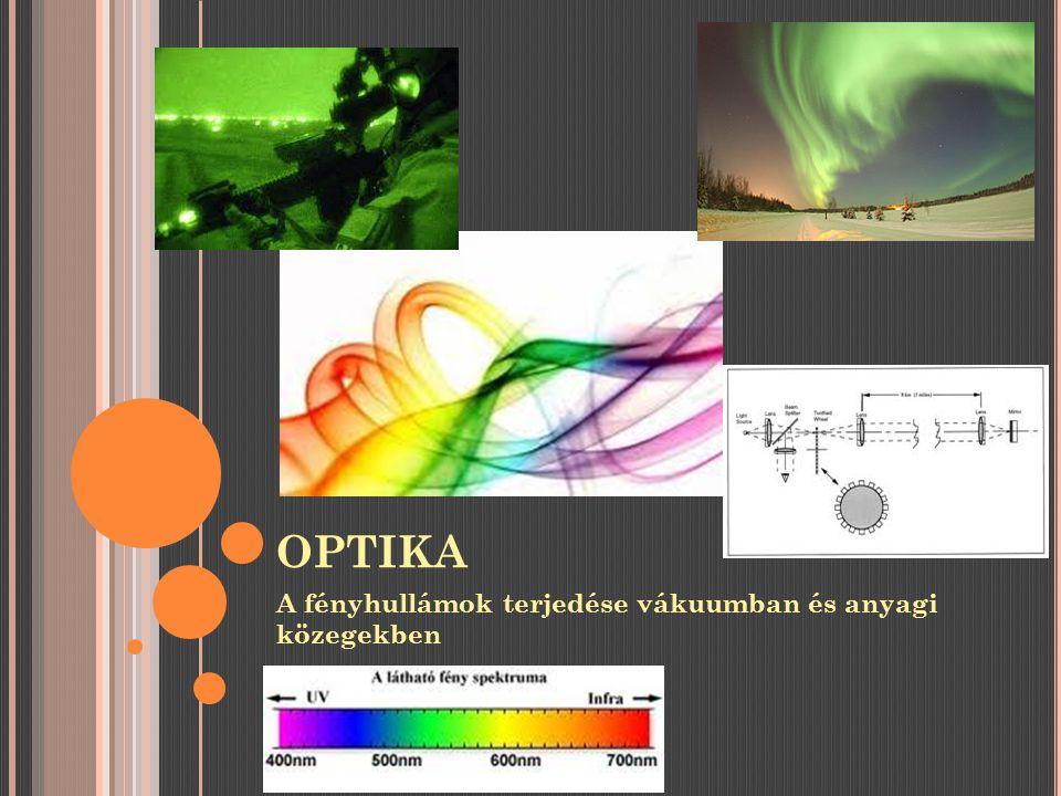 OPTIKA A fényhullámok terjedése vákuumban és anyagi közegekben