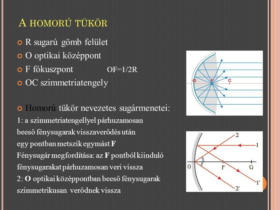 R sugarú gömb felület O optikai középpont F fókuszpont OF=1/2R OC szimmetriatengely Homorú tükör nevezetes sugármenetei: 1: a szimmetriatengellyel párhuzamosan beeső fénysugarak visszaverődés után egy pontban metszik egymást F Fénysugár megfordítása: az F pontból kiinduló fénysugarakat párhuzamosan veri vissza 2: O optikai középpontban beeső fénysugarak szimmetrikusan verődnek vissza A HOMORÚ TÜKÖR