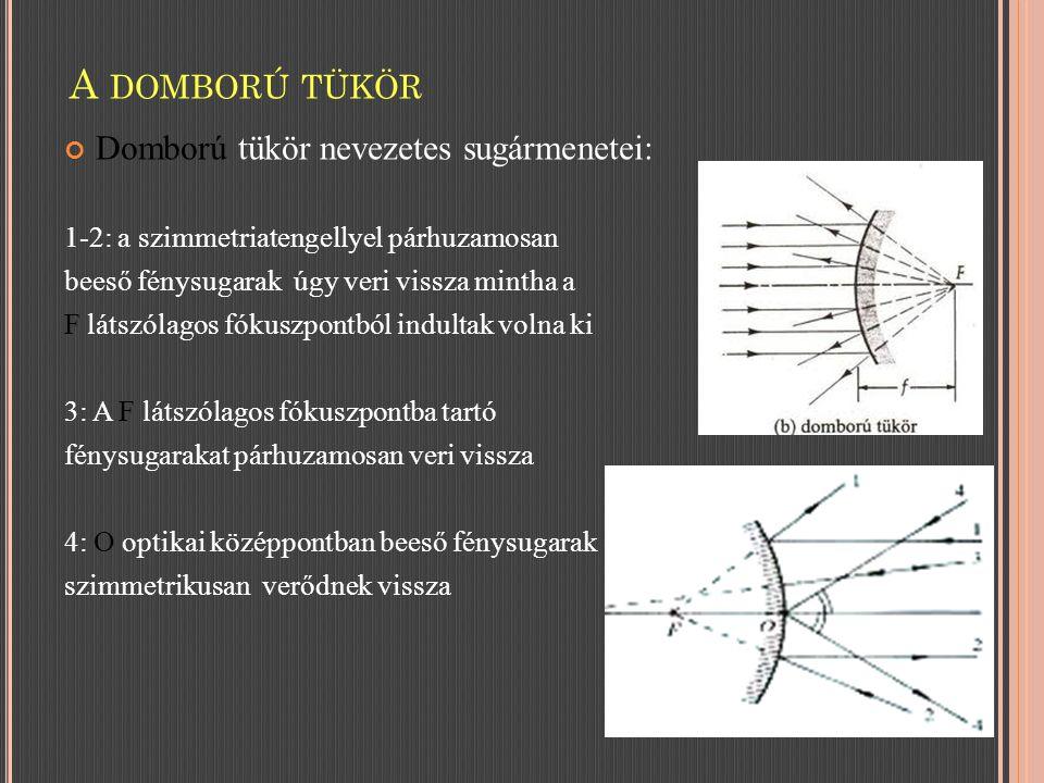 Domború tükör nevezetes sugármenetei: 1-2: a szimmetriatengellyel párhuzamosan beeső fénysugarak úgy veri vissza mintha a F látszólagos fókuszpontból indultak volna ki 3: A F látszólagos fókuszpontba tartó fénysugarakat párhuzamosan veri vissza 4: O optikai középpontban beeső fénysugarak szimmetrikusan verődnek vissza A DOMBORÚ TÜKÖR