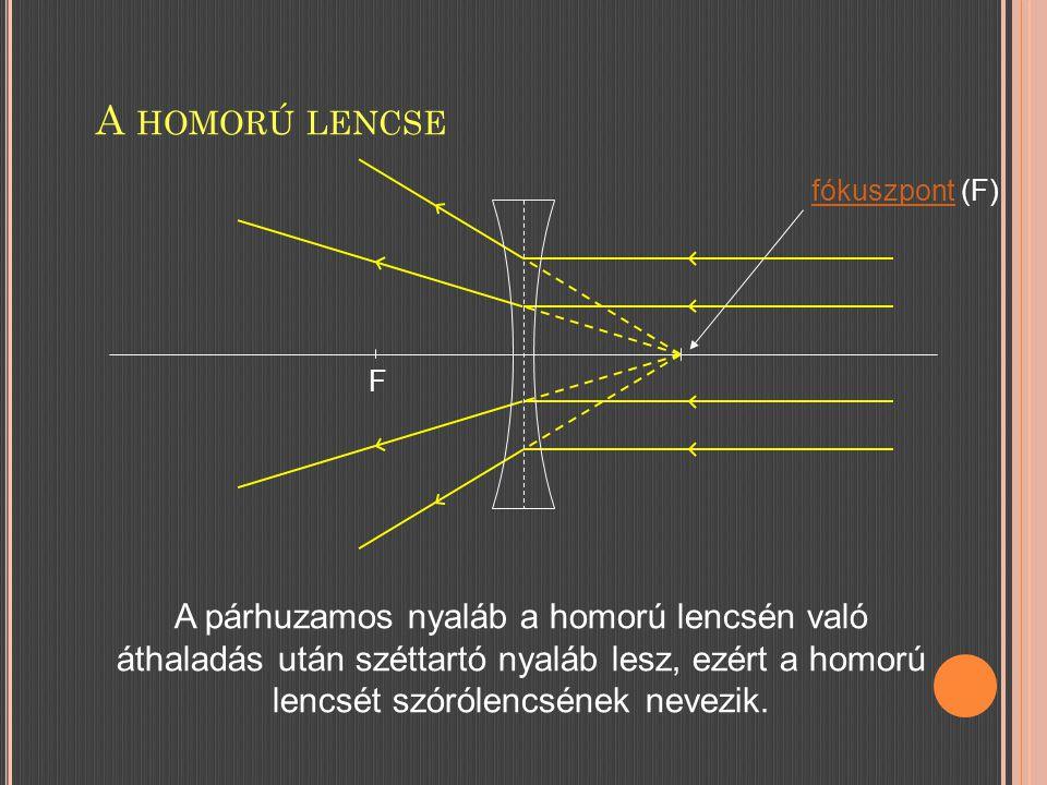 A HOMORÚ LENCSE F fókuszpontfókuszpont (F) A párhuzamos nyaláb a homorú lencsén való áthaladás után széttartó nyaláb lesz, ezért a homorú lencsét szórólencsének nevezik.