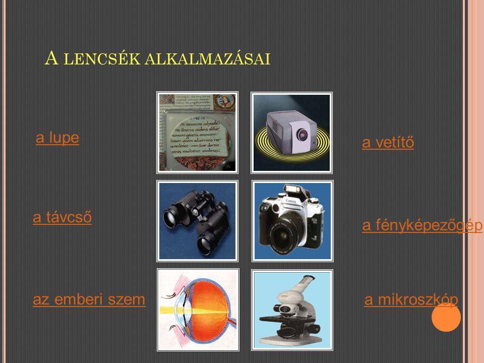 A LENCSÉK ALKALMAZÁSAI a vetítő az emberi szem a fényképezőgép a távcső a mikroszkóp a lupe